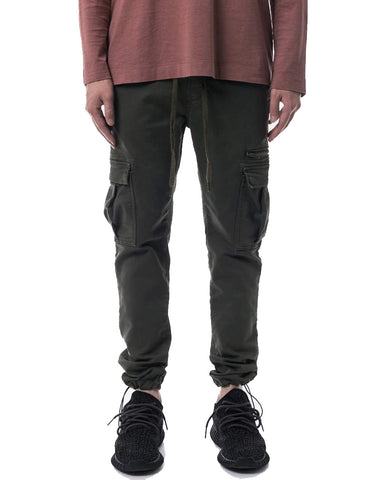 Olive Trouser Fleece Denim Cargo Pants