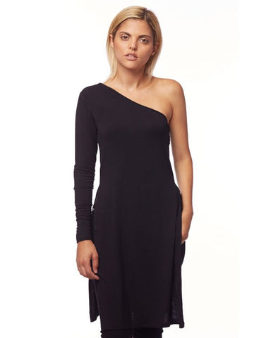 One Shoulder Top With side slits - Black