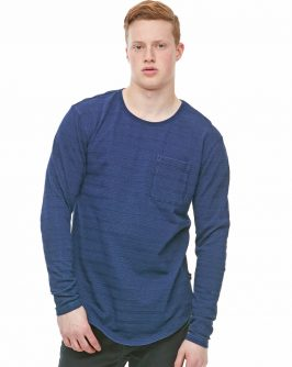 Textured Long Line Pocket LS – Denim Blue