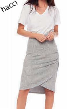 Side Gathered Skirt - Grey Melange