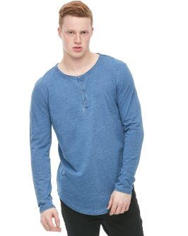 Long Line Henley Light Blue Jersey