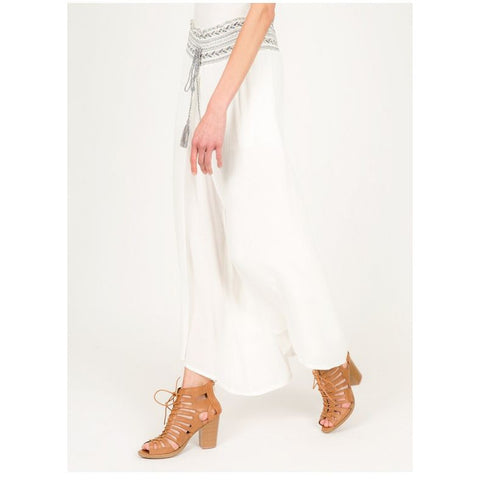 Embroidered Elastic Waist Palazzo Pants (White) - Anonymous L.A.