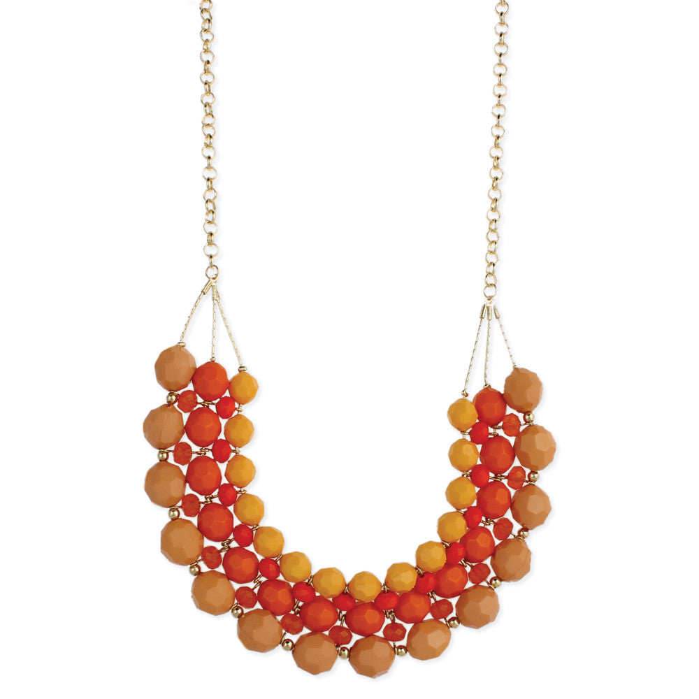 Peach Tone Beaded Bib Necklace - Anonymous L.A.
