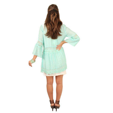 Monoreno Mint Peasant Lace Dress - Anonymous L.A. - 3