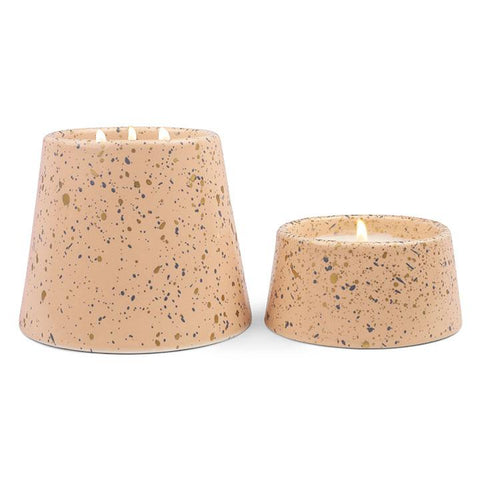 14 oz confetti apricot peony & patchouli ceramic with emerald splatter