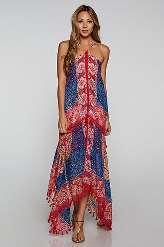 Bohemian Tie-Back Scarf Dress