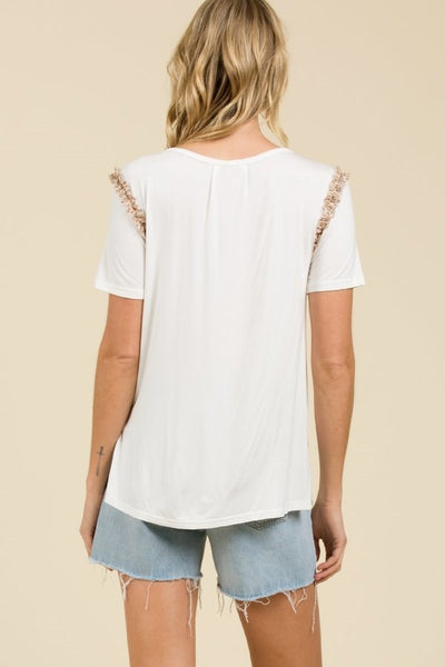 Scoop neck short sleeve tee with pocket and shirred ruffle detail