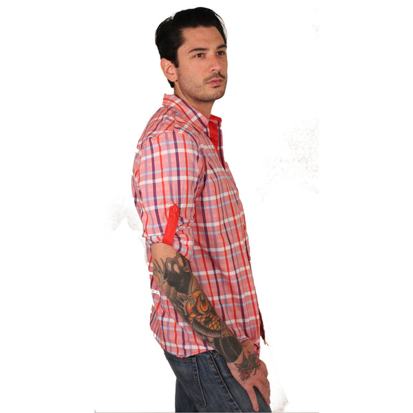 Platini Coral Plaid Roll-Up Shirt - Anonymous L.A. - 2