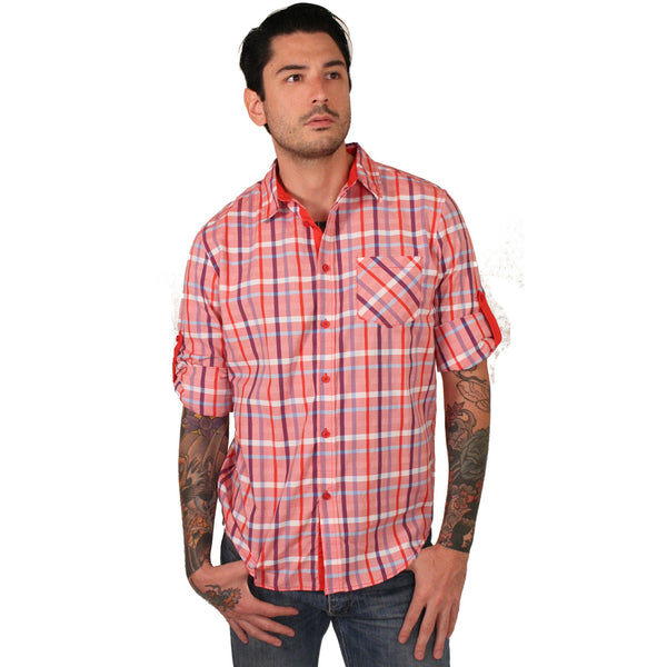 Platini Coral Plaid Roll-Up Shirt - Anonymous L.A. - 1