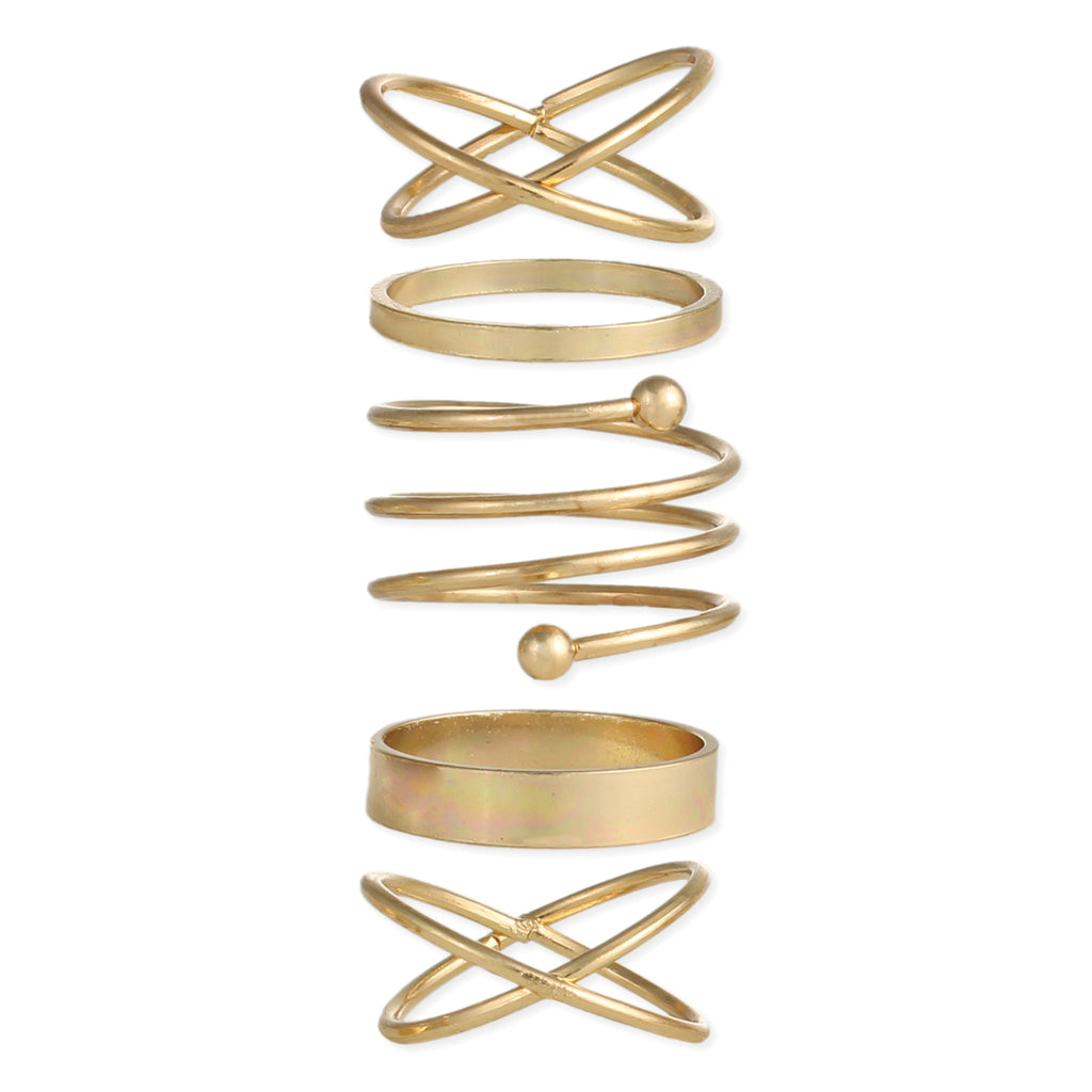 Feeling Electric Gold/Silver Wire Ring Set of 5