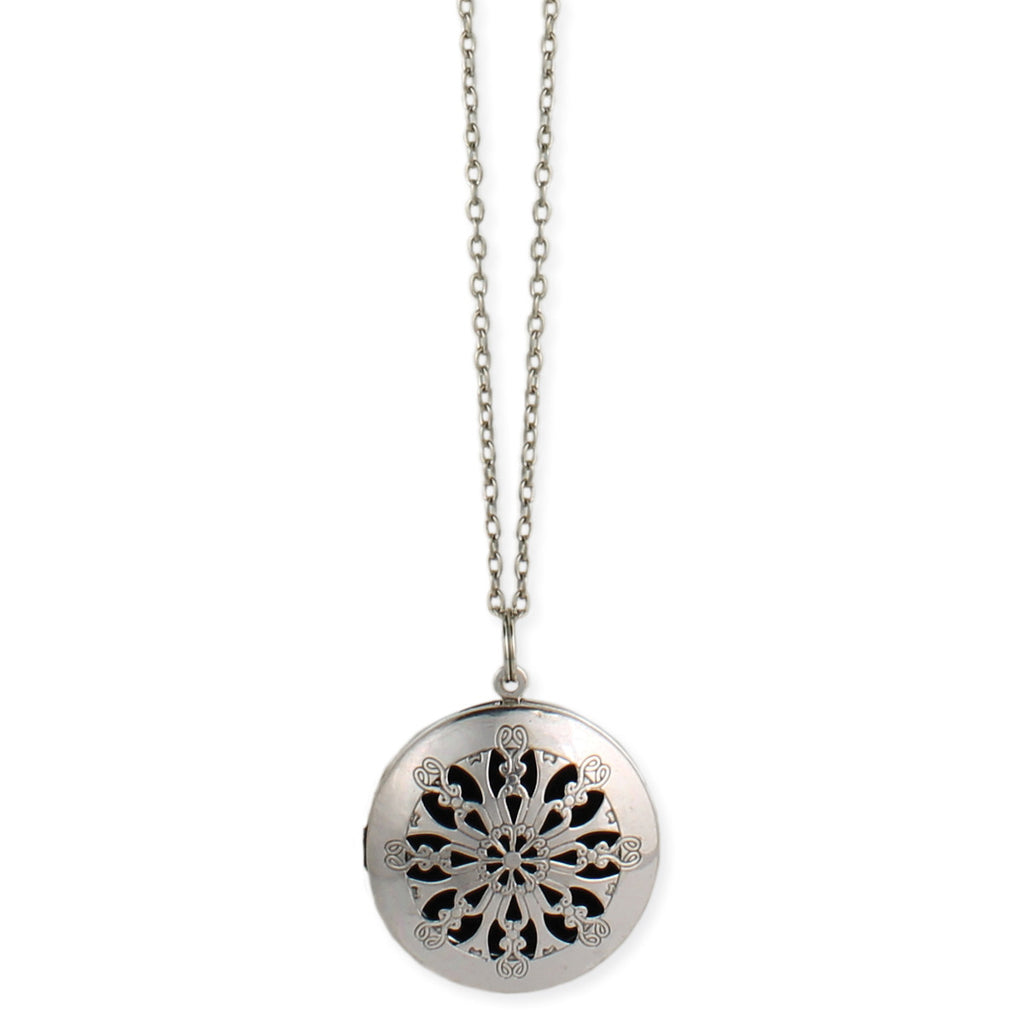 Silver Cutout Diffuser Locket Long Necklace - Anonymous L.A.