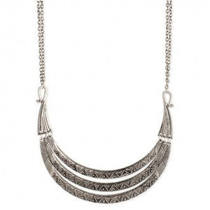 Silver Ethnic Graduating Bib Necklace - Anonymous L.A.