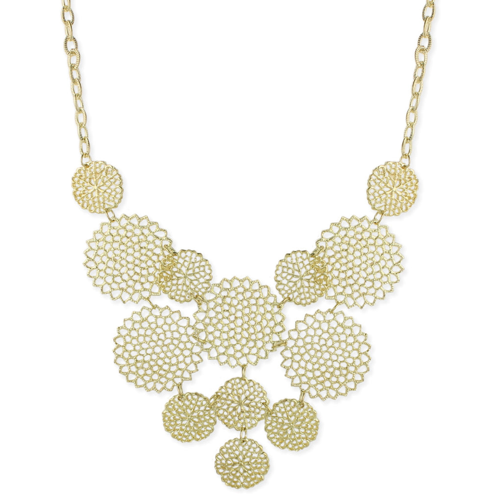 Silver Cutout Circles Bib Necklace - Anonymous L.A.