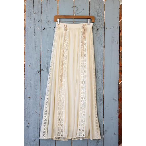 Long Boho Skirt With Embroidery - Anonymous L.A.