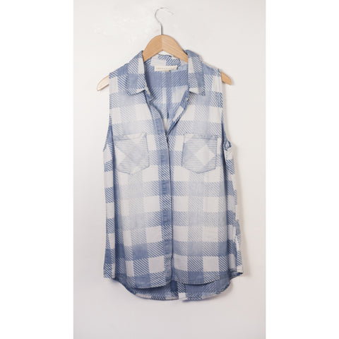 Sleeveless Washed Gingham Buttondown