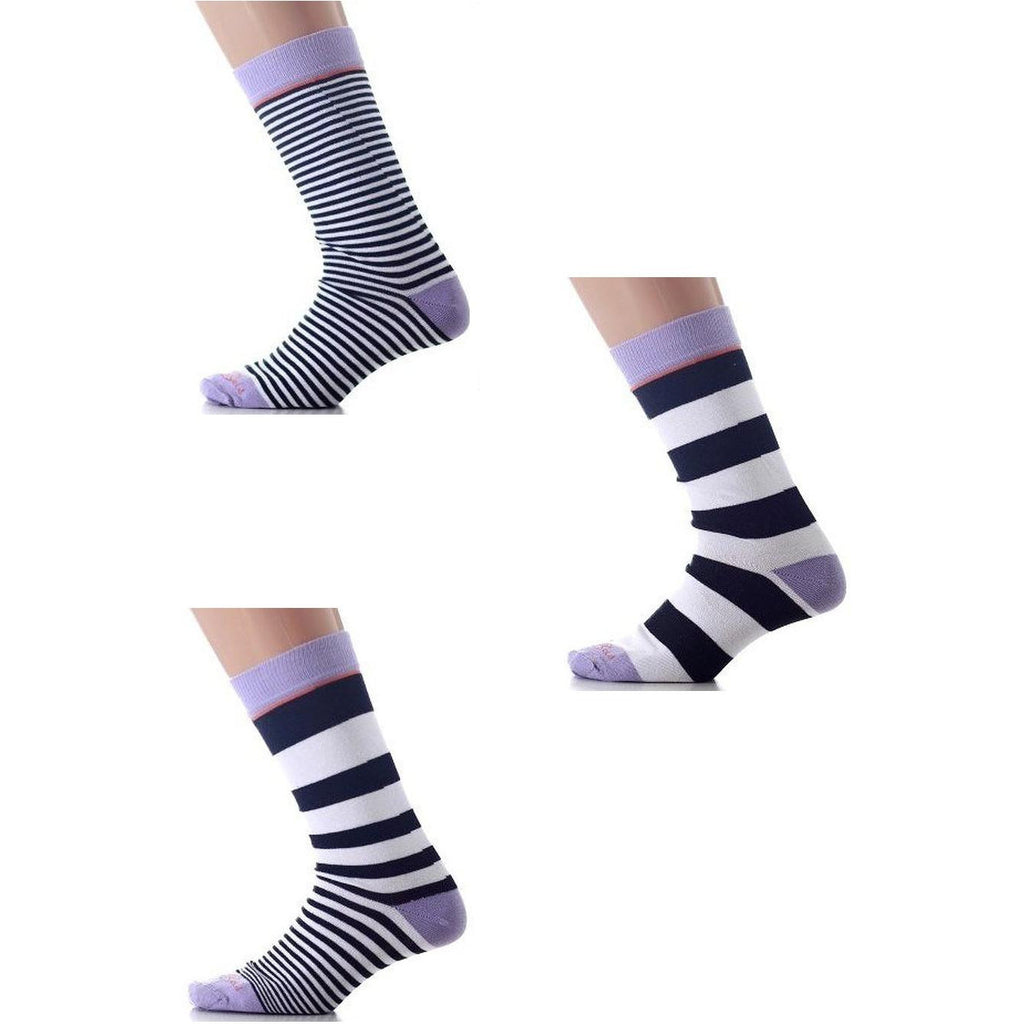 Purple/Black/White Mismatched Knee High Socks - Anonymous L.A.