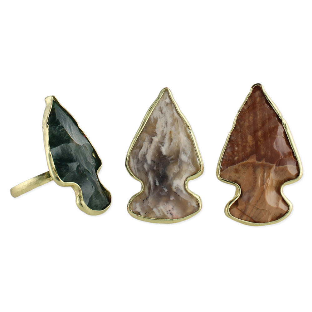 Stone Arrowhead Gold Rings - Anonymous L.A.
