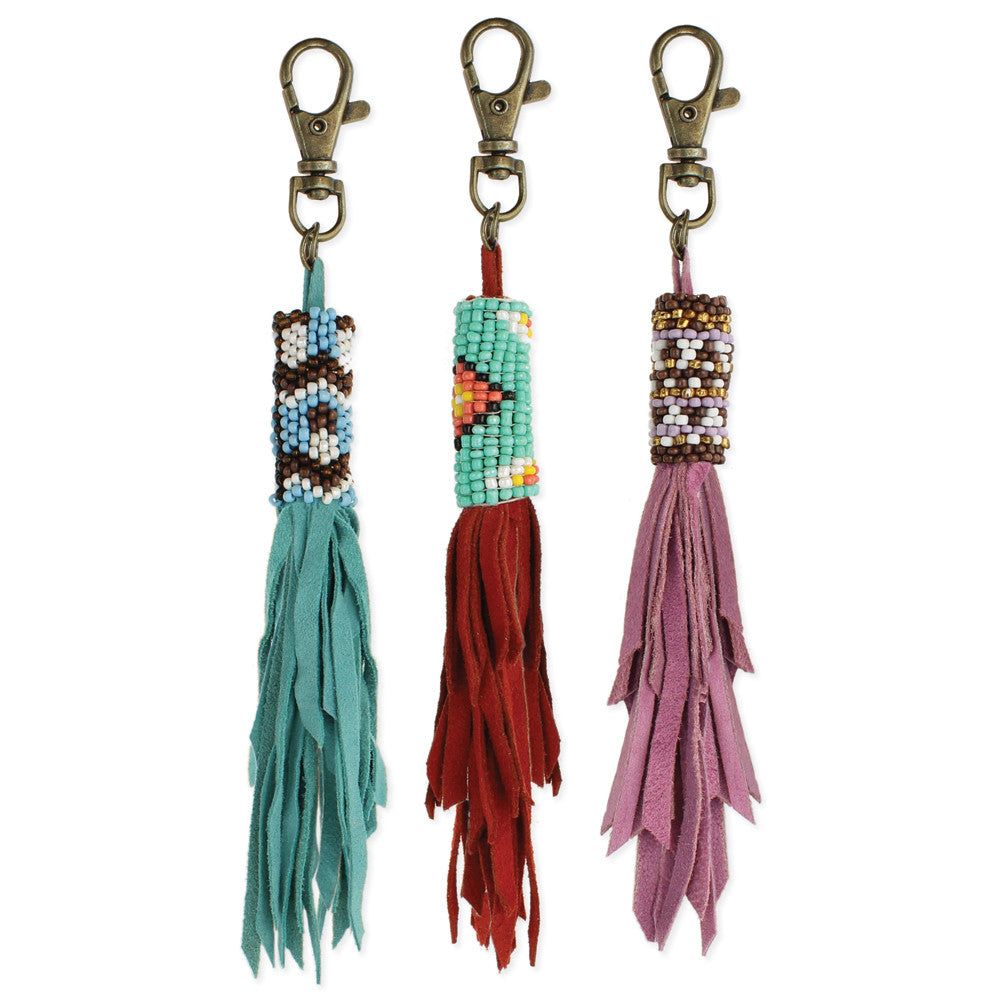 Suede Fringe & Beaded Bag Charm - Anonymous L.A.