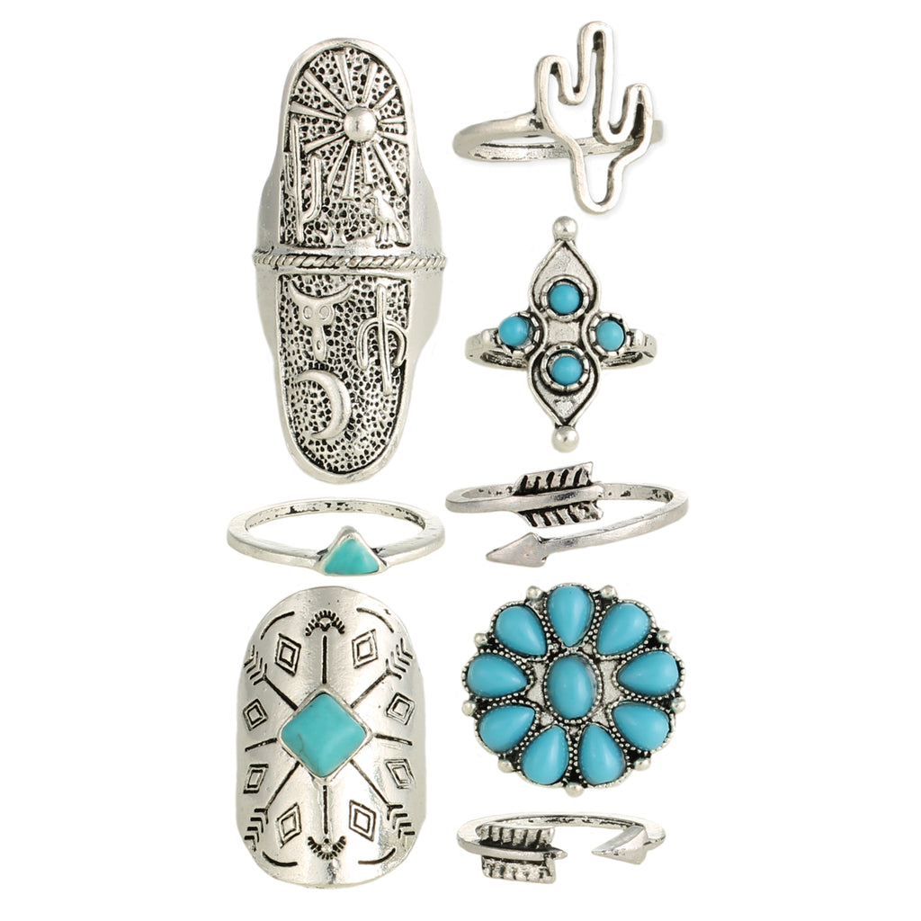 Set of 8 Southwest Style Turquoise & Silver Rings