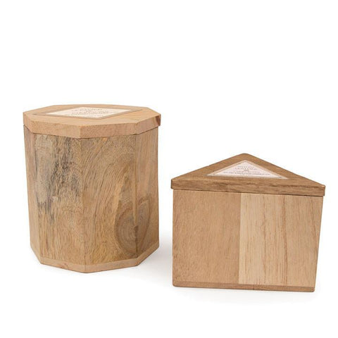 Wood 4oz Oak Triangle Leather & Oakmoss Candle