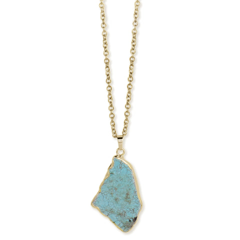 Gilded Gold Foil Turquoise Stone Slice Necklace