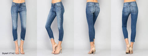 MID RISE DESTROYED HEM CROP SKINNY