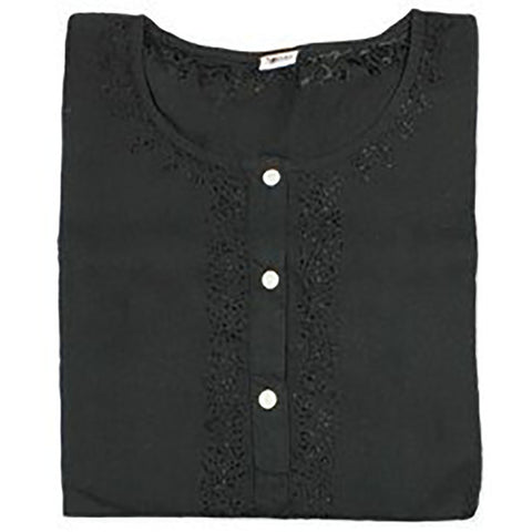 Black Voile Cotton Kurta Blouse - Anonymous L.A. - 1