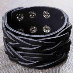 Men'S Distressed Leather Wide Bracelet
