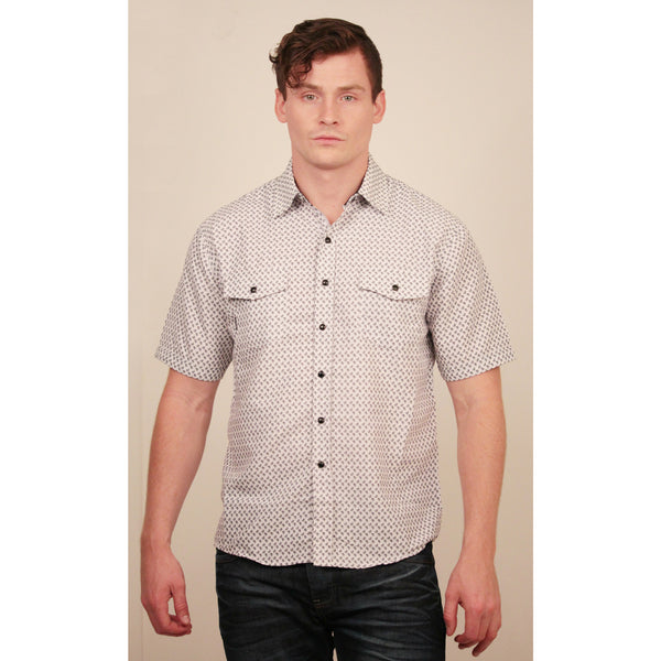 CD-4349 S/S White/Black Piasley Shirt - Anonymous L.A. - 1