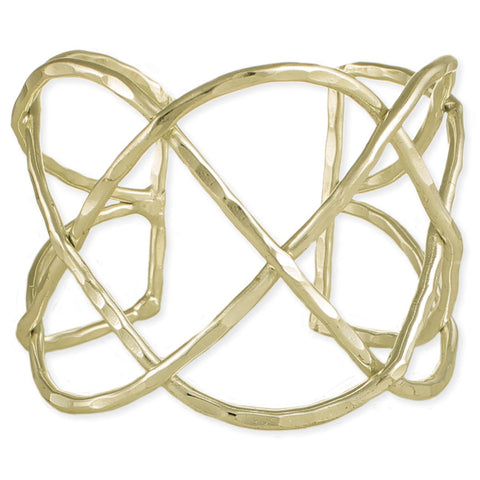 Gold Hammered Wide Woven Cuff Bracelet