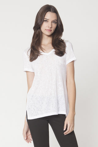 V-Neck Pocketed Burnout T-Shirt