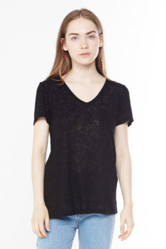 V-Neck Burnout Pocketed T-Shirt
