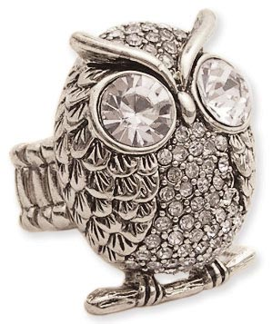 Silver Metal Rhinestone Owl Stretch Ring