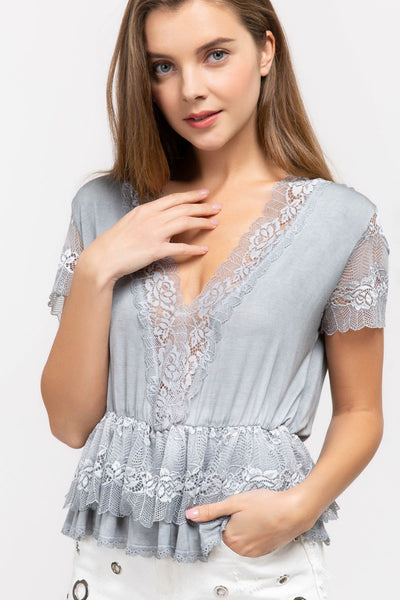 Ruffle Lace Layer Trim Cross Over Top