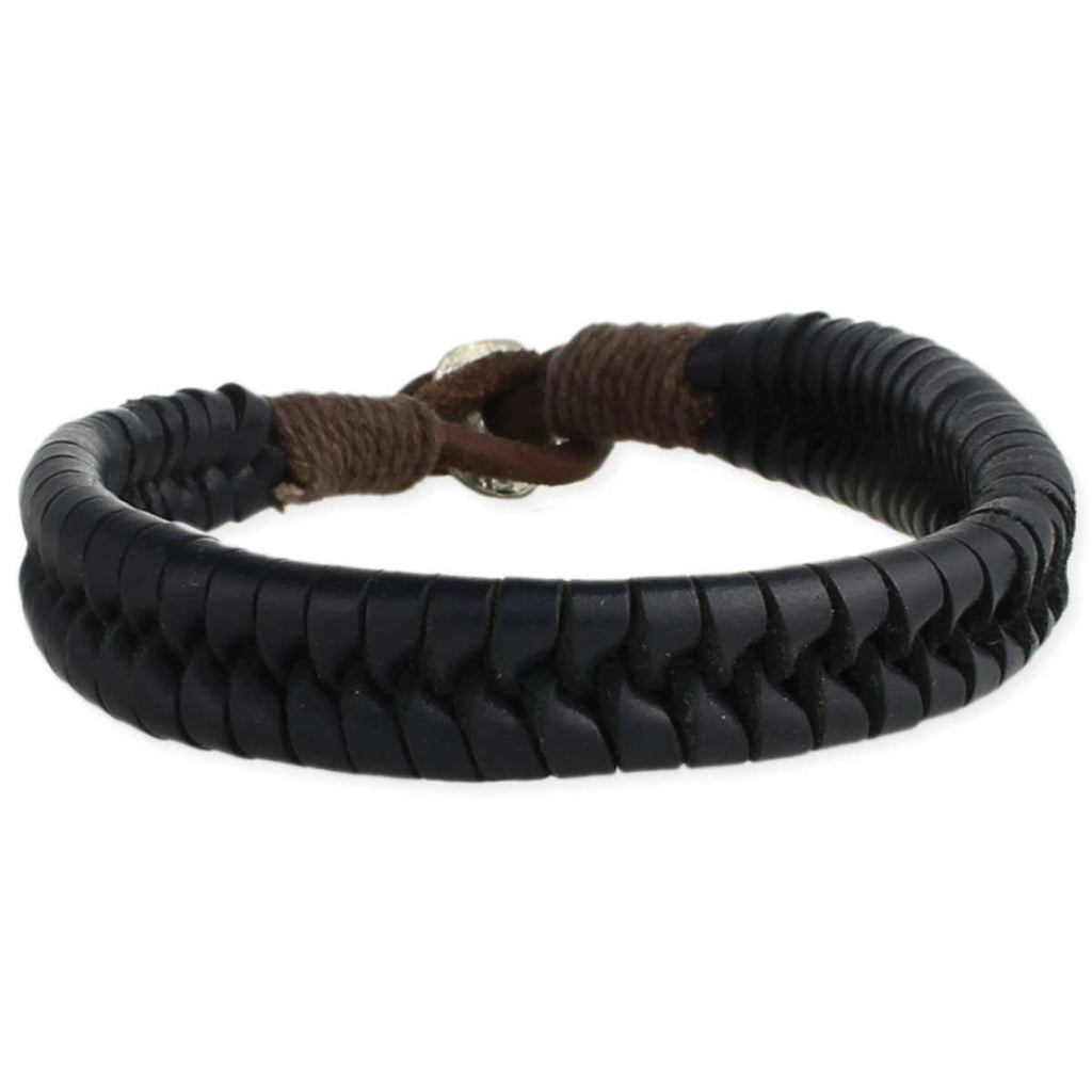 Braided Black Leather Men's Bracelet
