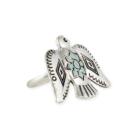 Silver Etched & Turquoise Thunderbird Ring