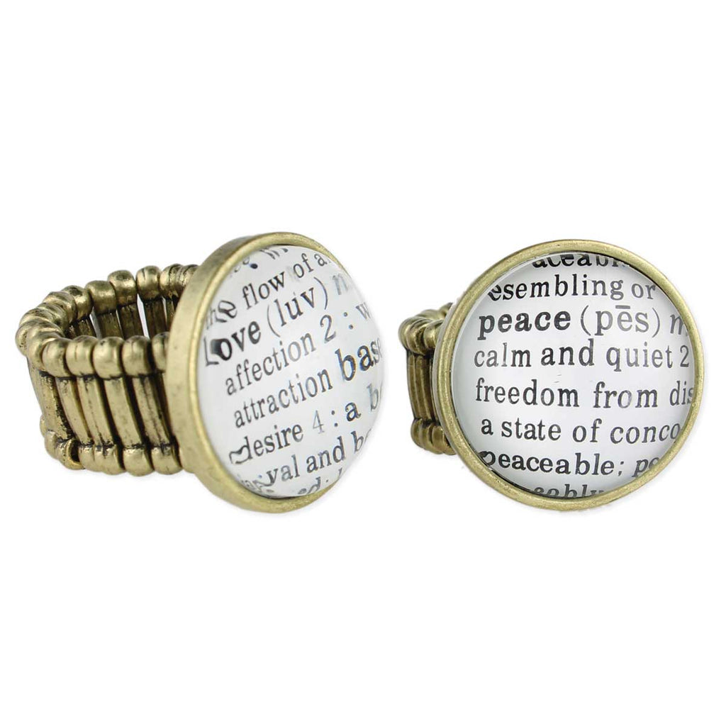 Gold Dictionary Stretch Ring