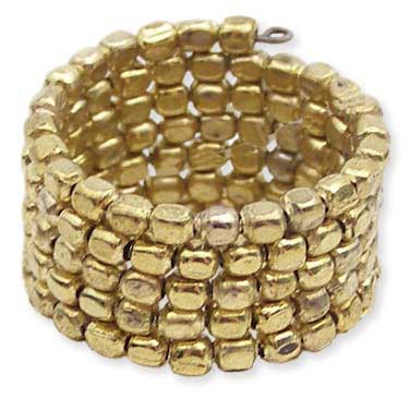 5 Line Gold Metal Seed Bead Coil Ring