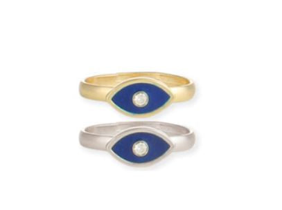 Just a Peek Blue Eye & Crystal Ring