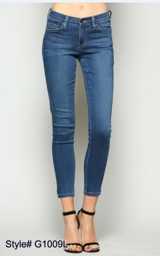 Mid Rise Extra Lycra Ankle Skinny Jeans - Medium Blue