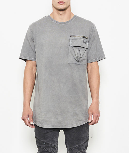 T-SHIRT WITH UTILITY POCKET & ZIPPER DETAIL