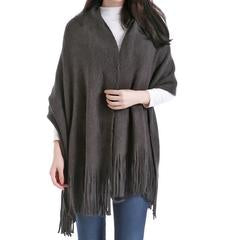 Madison Wool Blend Poncho -  Charcoal