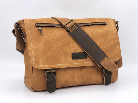 Vegan Leather Messenger Bag With Taffeta Lining