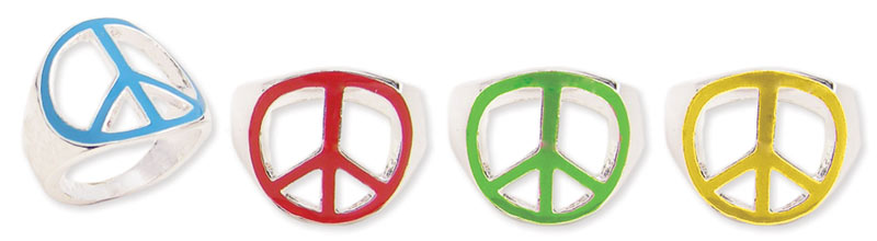 Silver Metal Enamel Peace Sign Ring
