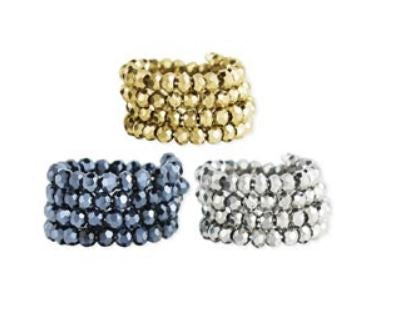 Metallic Bead Coil Ring