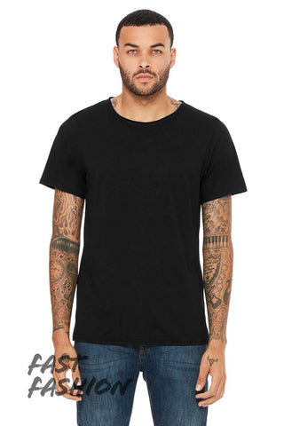 Unisex Triblend Raw Neck Tee - Black