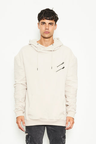 HOODED SWEATER WITH BIKER SLEEVE AND CHEST ZIPPER