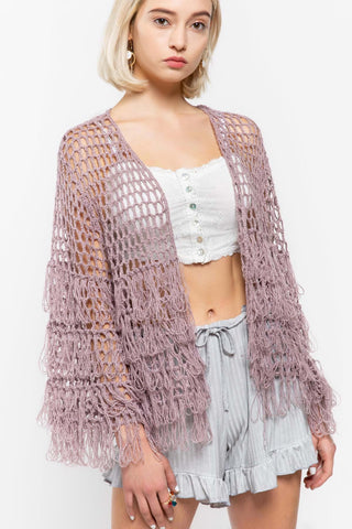Open weave cardigan sweater - Lavender Herb