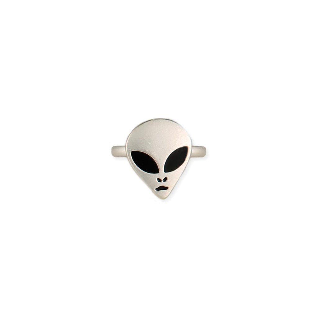 Silver Alien Face Ring