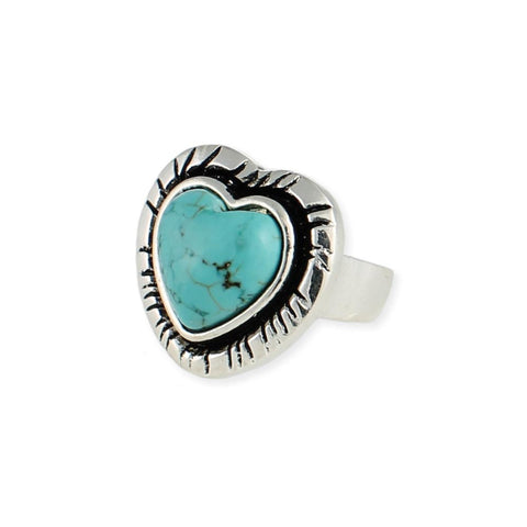 Silver Turquoise Heart Ring